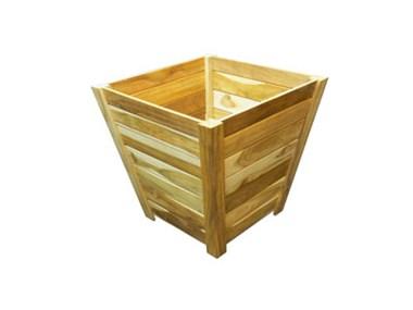Teak Trapezoid Tree Planter Box 28 Inch Teak Planter